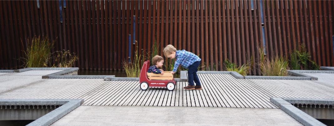 Brother pushing wagon